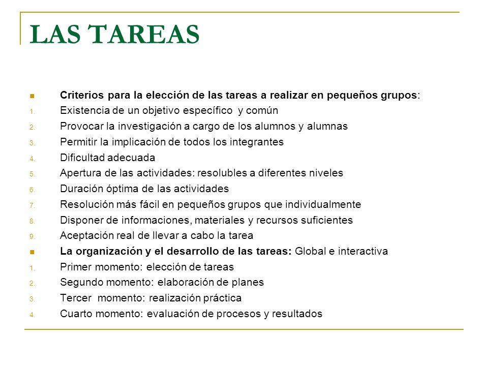 LAS TAREAS Criterios para la elección de las tareas a realizar en pequeños grupos: 1. Existencia de un objetivo específico y común 2. Provocar la inve