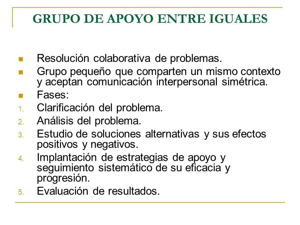 GRUPO DE APOYO ENTRE IGUALES Resolución colaborativa de problemas. Grupo pequeño que comparten un mismo contexto y aceptan comunicación interpersonal