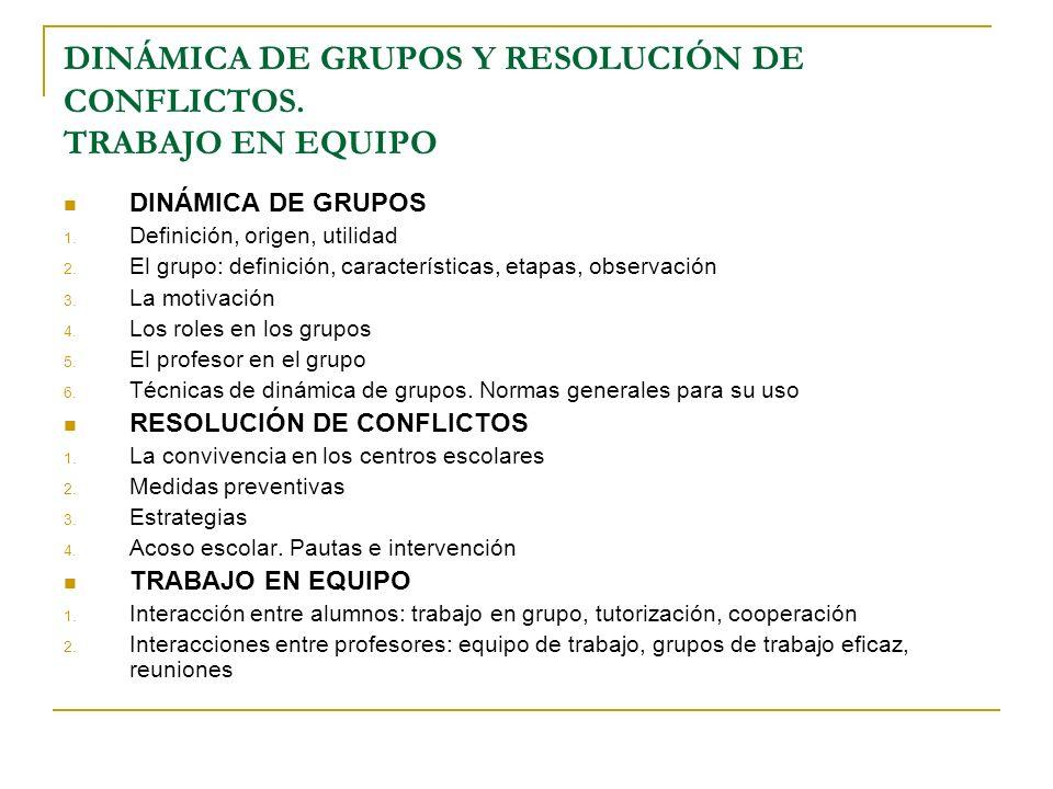 DINÁMICA DE GRUPOS 1. Definición, origen, utilidad 2. El grupo: definición, características, etapas, observación 3. La motivación 4. Los roles en los