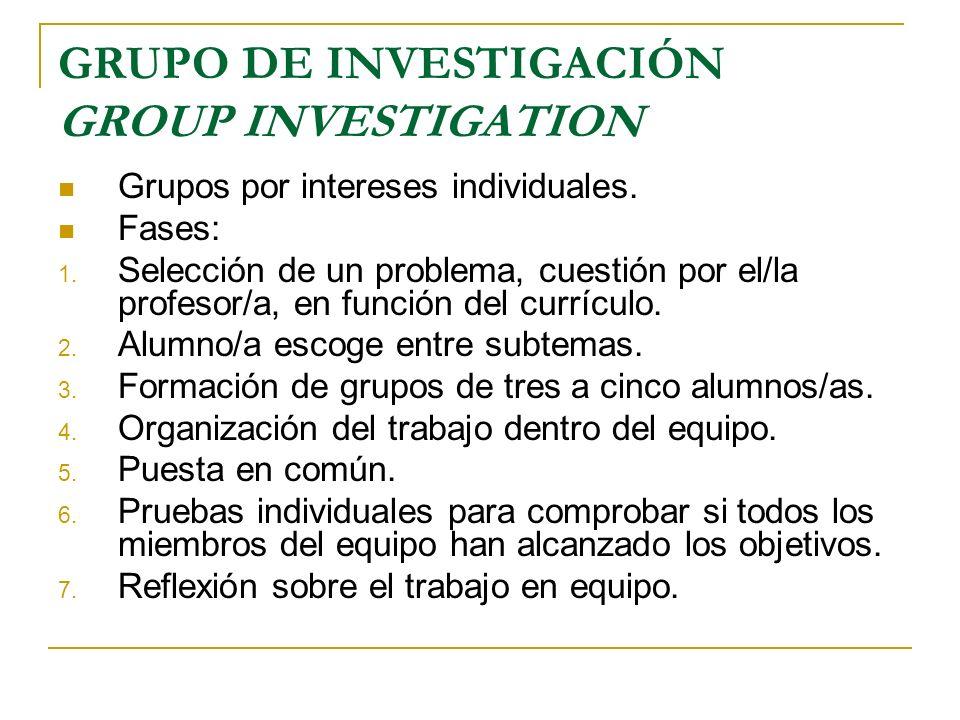GRUPO DE INVESTIGACIÓN GROUP INVESTIGATION Grupos por intereses individuales. Fases: 1. Selección de un problema, cuestión por el/la profesor/a, en fu