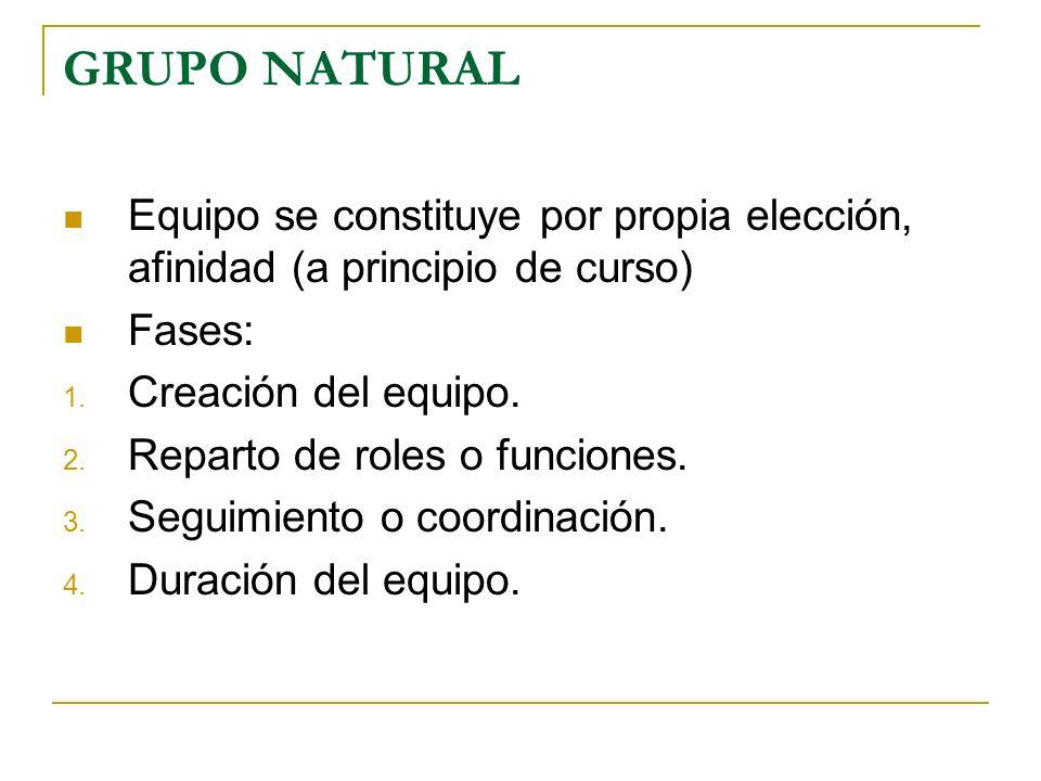 GRUPO NATURAL Equipo se constituye por propia elección, afinidad (a principio de curso) Fases: 1. Creación del equipo. 2. Reparto de roles o funciones