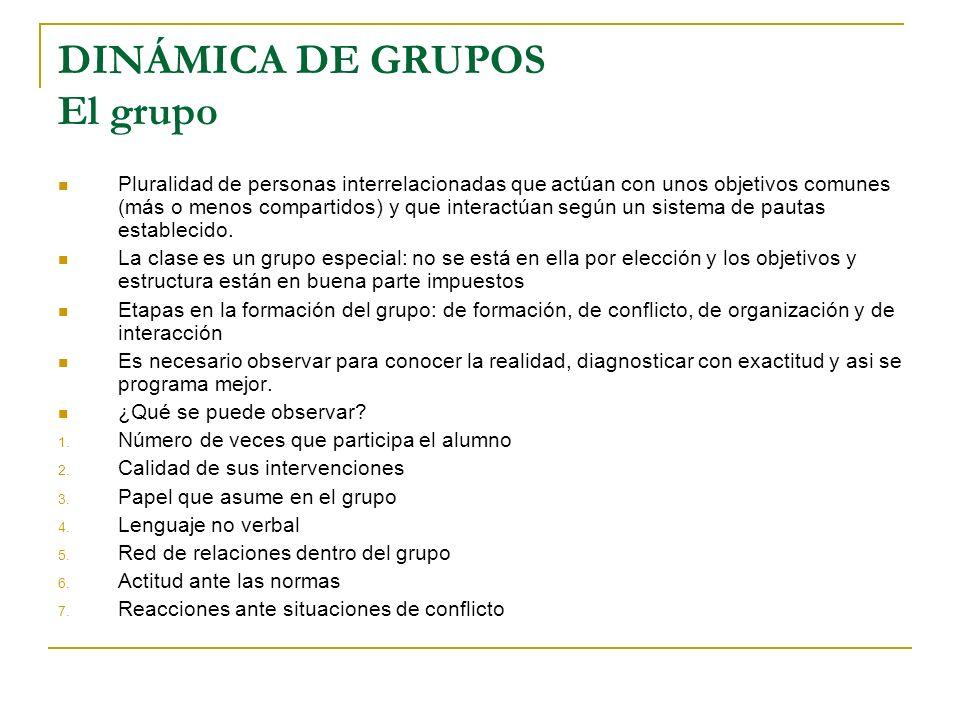 DINÁMICA DE GRUPOS El grupo Pluralidad de personas interrelacionadas que actúan con unos objetivos comunes (más o menos compartidos) y que interactúan