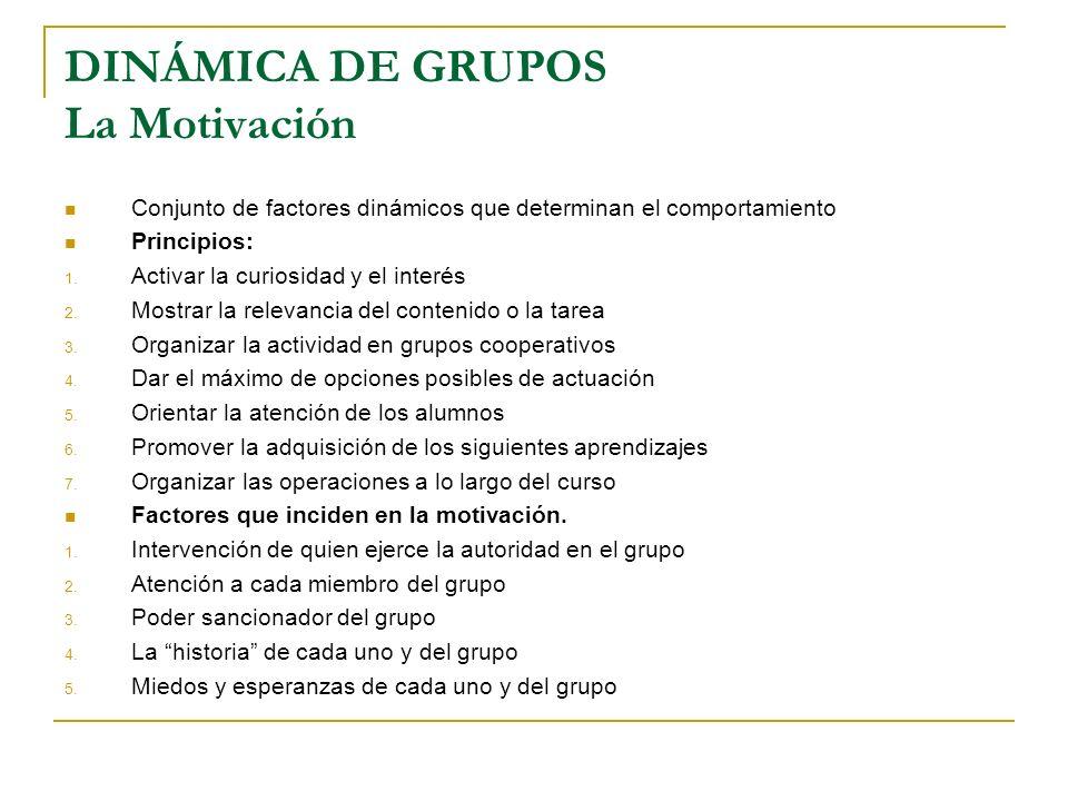 DINÁMICA DE GRUPOS La Motivación Conjunto de factores dinámicos que determinan el comportamiento Principios: 1. Activar la curiosidad y el interés 2.