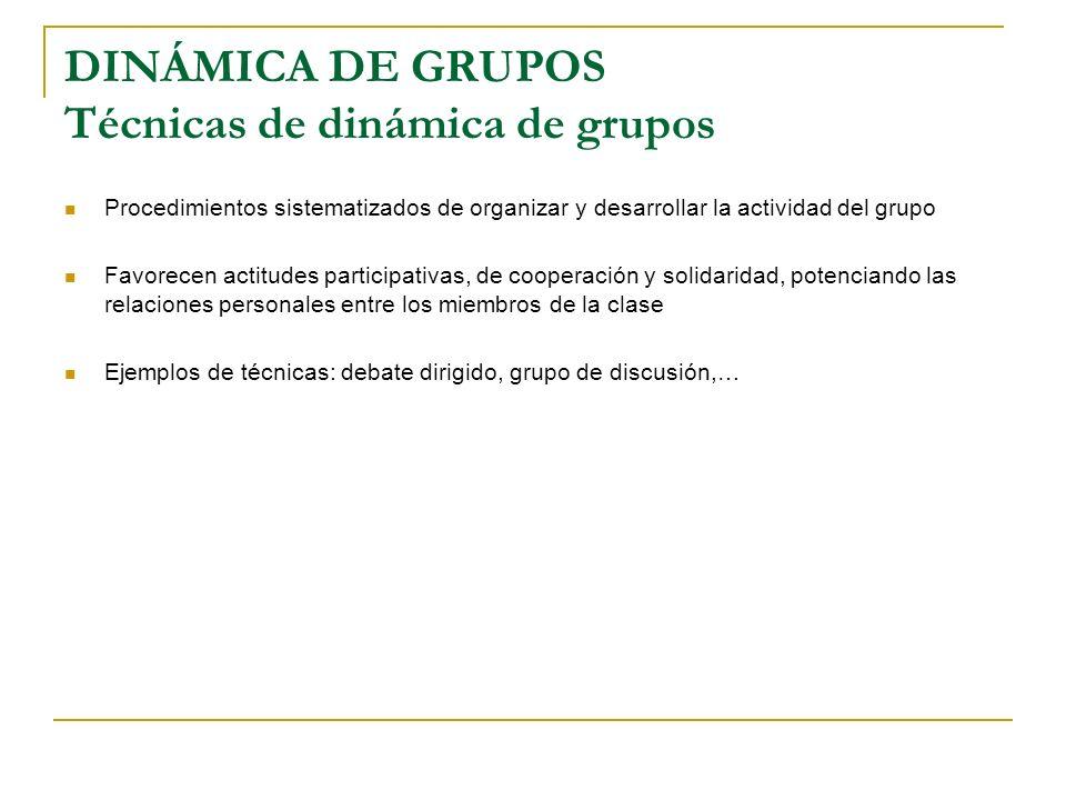 DINÁMICA DE GRUPOS Técnicas de dinámica de grupos Procedimientos sistematizados de organizar y desarrollar la actividad del grupo Favorecen actitudes