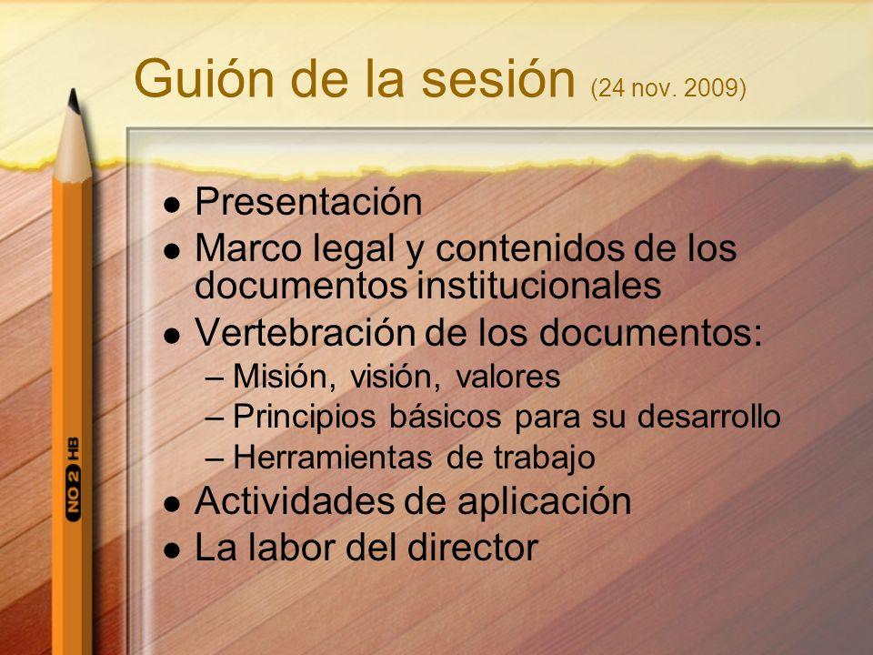 Guión de la sesión (24 nov. 2009) Presentación Marco legal y contenidos de los documentos institucionales Vertebración de los documentos: –Misión, vis