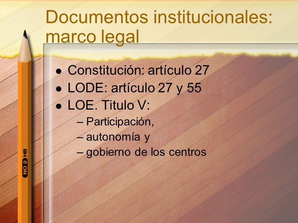 Documentos institucionales: marco legal Constitución: artículo 27 LODE: artículo 27 y 55 LOE. Titulo V: –Participación, –autonomía y –gobierno de los