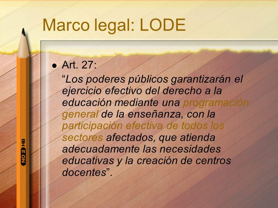 Marco legal: LODE Art. 27: Los poderes públicos garantizarán el ejercicio efectivo del derecho a la educación mediante una programación general de la