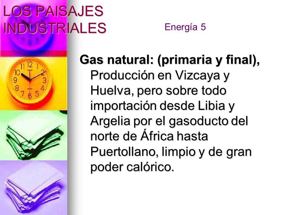 Gas natural: (primaria y final), Producción en Vizcaya y Huelva, pero sobre todo importación desde Libia y Argelia por el gasoducto del norte de Áfric
