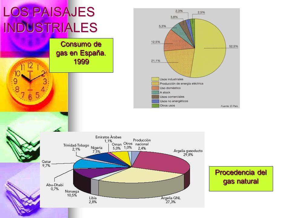 Consumo de gas en España. 1999 Procedencia del gas natural LOS PAISAJES INDUSTRIALES
