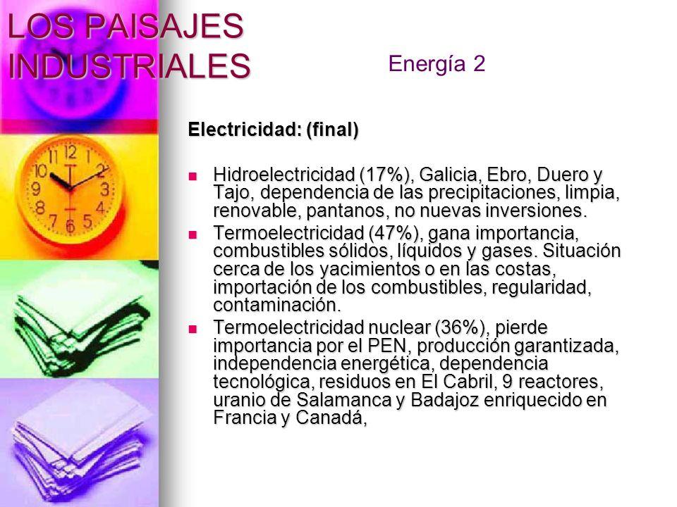 LOS PAISAJES INDUSTRIALES Electricidad: (final) Hidroelectricidad (17%), Galicia, Ebro, Duero y Tajo, dependencia de las precipitaciones, limpia, reno