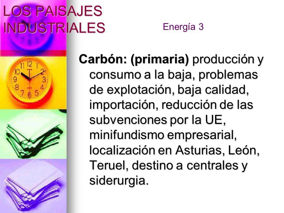 Carbón: (primaria) producción y consumo a la baja, problemas de explotación, baja calidad, importación, reducción de las subvenciones por la UE, minif