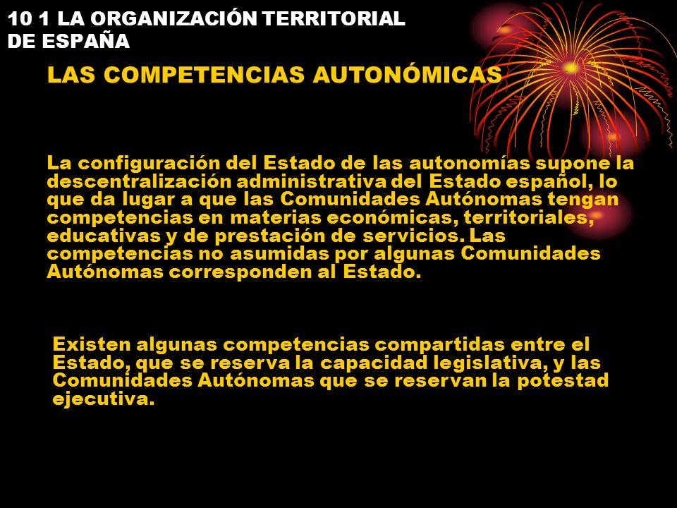 10 1 LA ORGANIZACIÓN TERRITORIAL DE ESPAÑA LAS COMPETENCIAS AUTONÓMICAS La configuración del Estado de las autonomías supone la descentralización admi