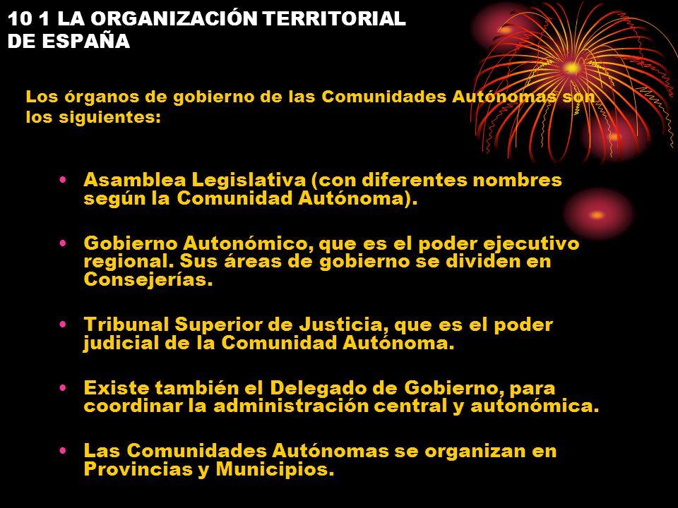 10 1 LA ORGANIZACIÓN TERRITORIAL DE ESPAÑA Asamblea Legislativa (con diferentes nombres según la Comunidad Autónoma). Gobierno Autonómico, que es el p