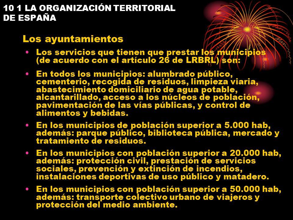 10 1 LA ORGANIZACIÓN TERRITORIAL DE ESPAÑA Los servicios que tienen que prestar los municipios (de acuerdo con el artículo 26 de LRBRL) son: En todos