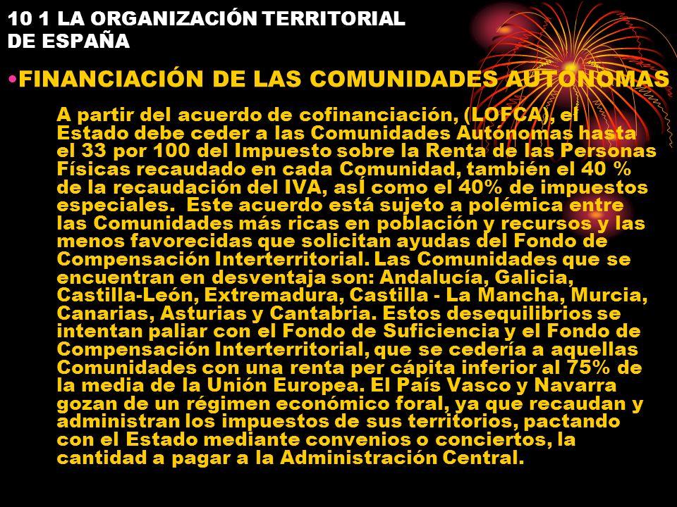 10 1 LA ORGANIZACIÓN TERRITORIAL DE ESPAÑA FINANCIACIÓN DE LAS COMUNIDADES AUTÓNOMAS A partir del acuerdo de cofinanciación, (LOFCA), el Estado debe c