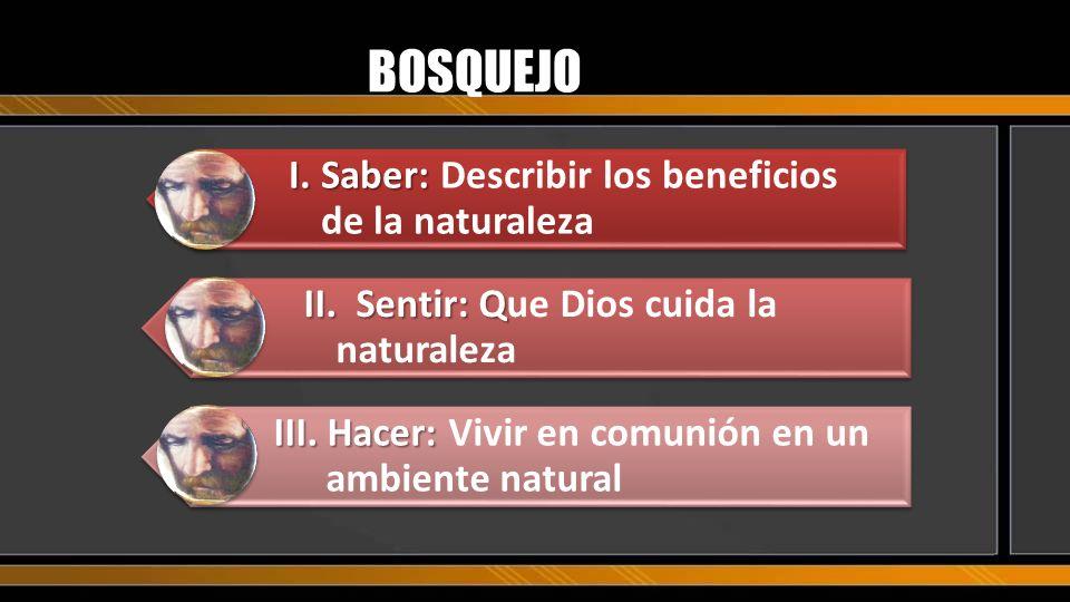 BOSQUEJO I.Saber: I.Saber: Describir los beneficios de la naturaleza II.Sentir: Q II.Sentir: Que Dios cuida la naturaleza III. Hacer: III. Hacer: Vivi