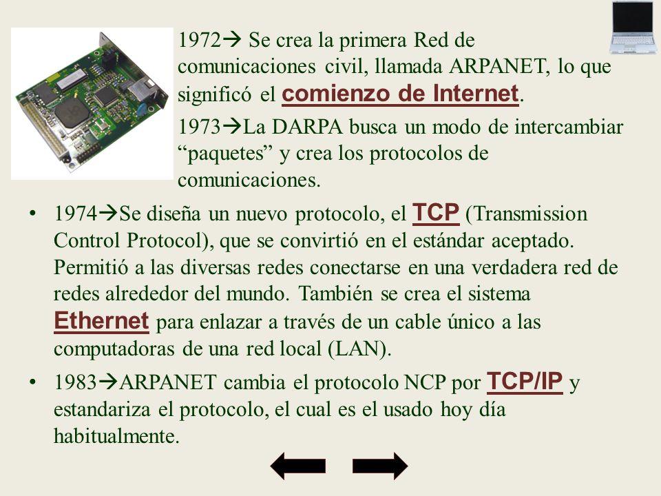 1972 Se crea la primera Red de comunicaciones civil, llamada ARPANET, lo que significó el comienzo de Internet. 1973 La DARPA busca un modo de interca