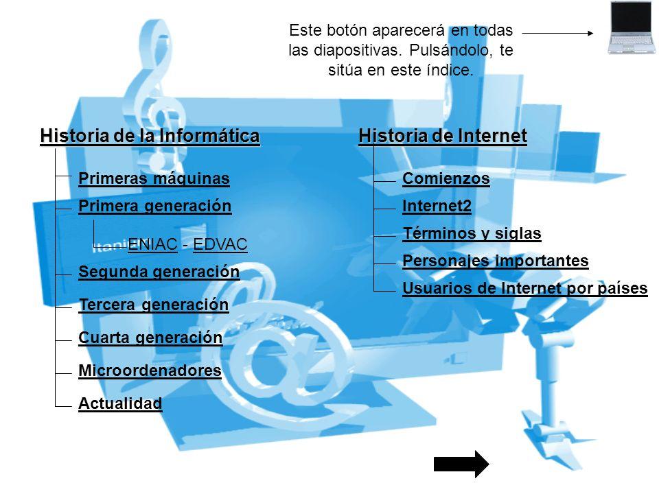 Historia de la Informática Historia de Internet Primeras máquinas Primera generación Segunda generación ENIACENIAC - EDVACEDVAC Microordenadores Comie