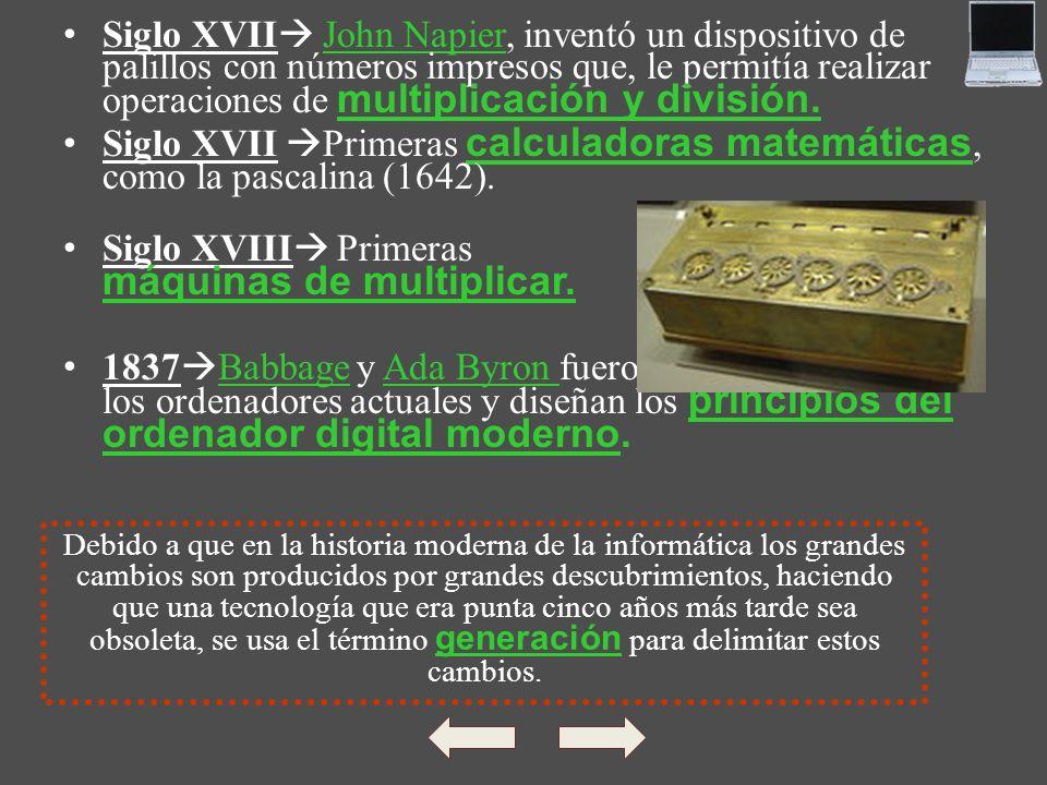Siglo XVII John Napier, inventó un dispositivo de palillos con números impresos que, le permitía realizar operaciones de multiplicación y división.Joh
