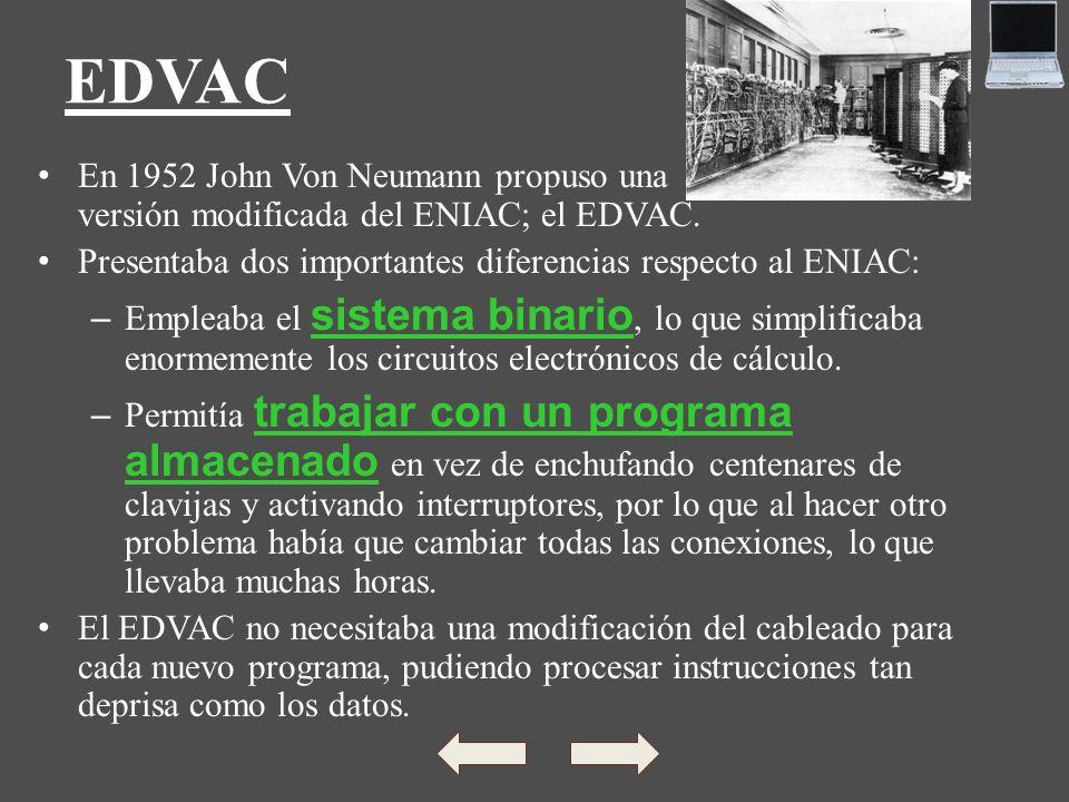 EDVAC En 1952 John Von Neumann propuso una versión modificada del ENIAC; el EDVAC. Presentaba dos importantes diferencias respecto al ENIAC: – Empleab
