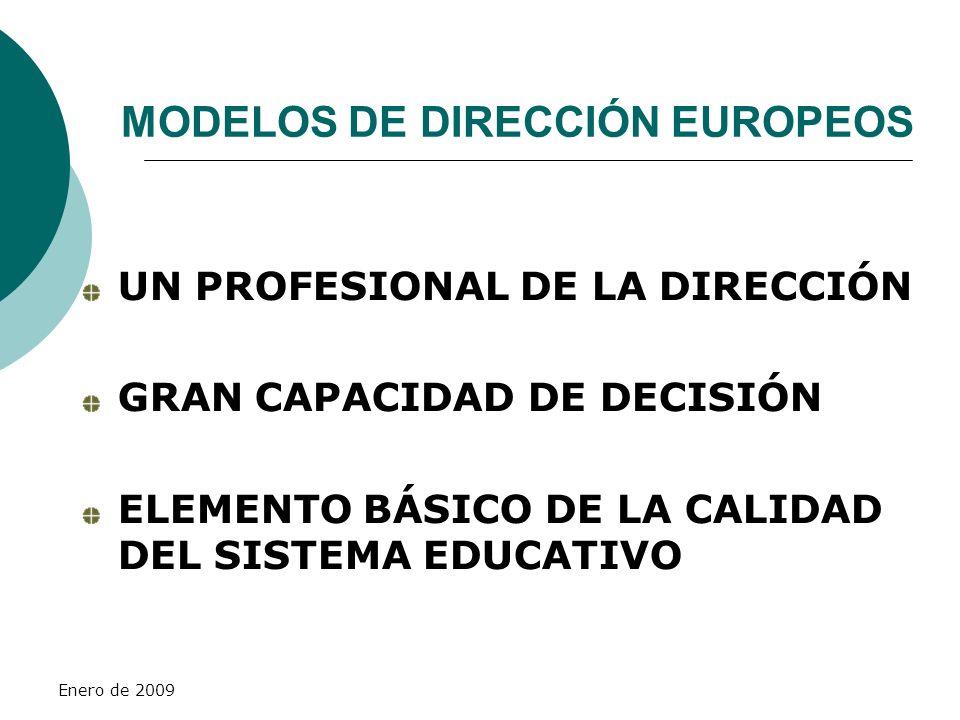 Enero de 2009 MODELOS DE DIRECCIÓN EUROPEOS UN PROFESIONAL DE LA DIRECCIÓN GRAN CAPACIDAD DE DECISIÓN ELEMENTO BÁSICO DE LA CALIDAD DEL SISTEMA EDUCAT