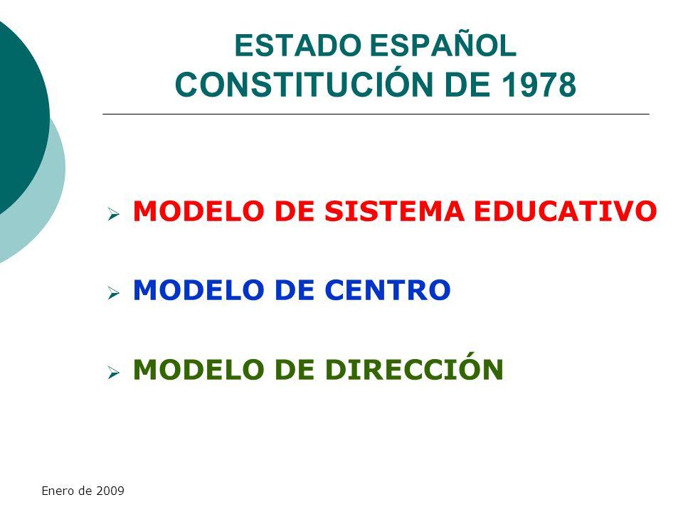 Enero de 2009 ESTADO ESPAÑOL CONSTITUCIÓN DE 1978 MODELO DE SISTEMA EDUCATIVO MODELO DE CENTRO MODELO DE DIRECCIÓN