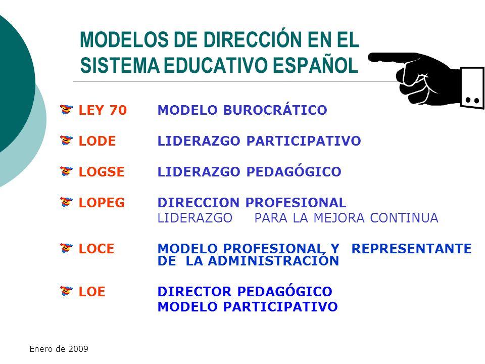 Enero de 2009 MODELOS DE DIRECCIÓN EN EL SISTEMA EDUCATIVO ESPAÑOL LEY 70MODELO BUROCRÁTICO LODELIDERAZGO PARTICIPATIVO LOGSELIDERAZGO PEDAGÓGICO LOPE