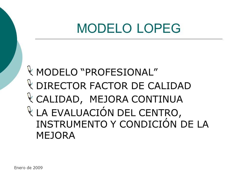 Enero de 2009 MODELO LOPEG MODELO PROFESIONAL DIRECTOR FACTOR DE CALIDAD CALIDAD, MEJORA CONTINUA LA EVALUACIÓN DEL CENTRO, INSTRUMENTO Y CONDICIÓN DE