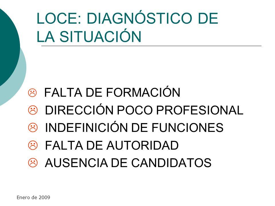 Enero de 2009 LOCE: DIAGNÓSTICO DE LA SITUACIÓN FALTA DE FORMACIÓN DIRECCIÓN POCO PROFESIONAL INDEFINICIÓN DE FUNCIONES FALTA DE AUTORIDAD AUSENCIA DE
