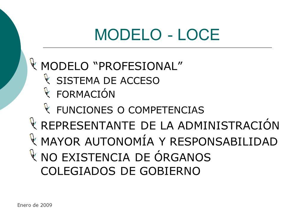 Enero de 2009 MODELO - LOCE MODELO PROFESIONAL SISTEMA DE ACCESO FORMACIÓN FUNCIONES O COMPETENCIAS REPRESENTANTE DE LA ADMINISTRACIÓN MAYOR AUTONOMÍA