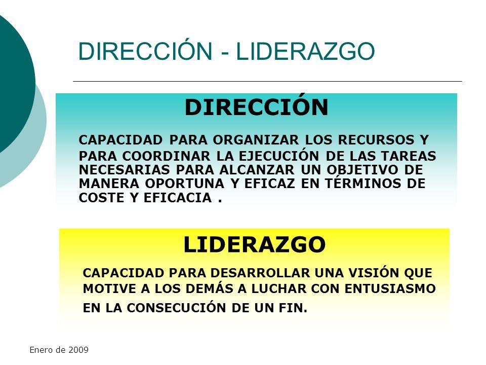 Enero de 2009 DIRECCIÓN - LIDERAZGO DIRECCIÓN CAPACIDAD PARA ORGANIZAR LOS RECURSOS Y PARA COORDINAR LA EJECUCIÓN DE LAS TAREAS NECESARIAS PARA ALCANZ