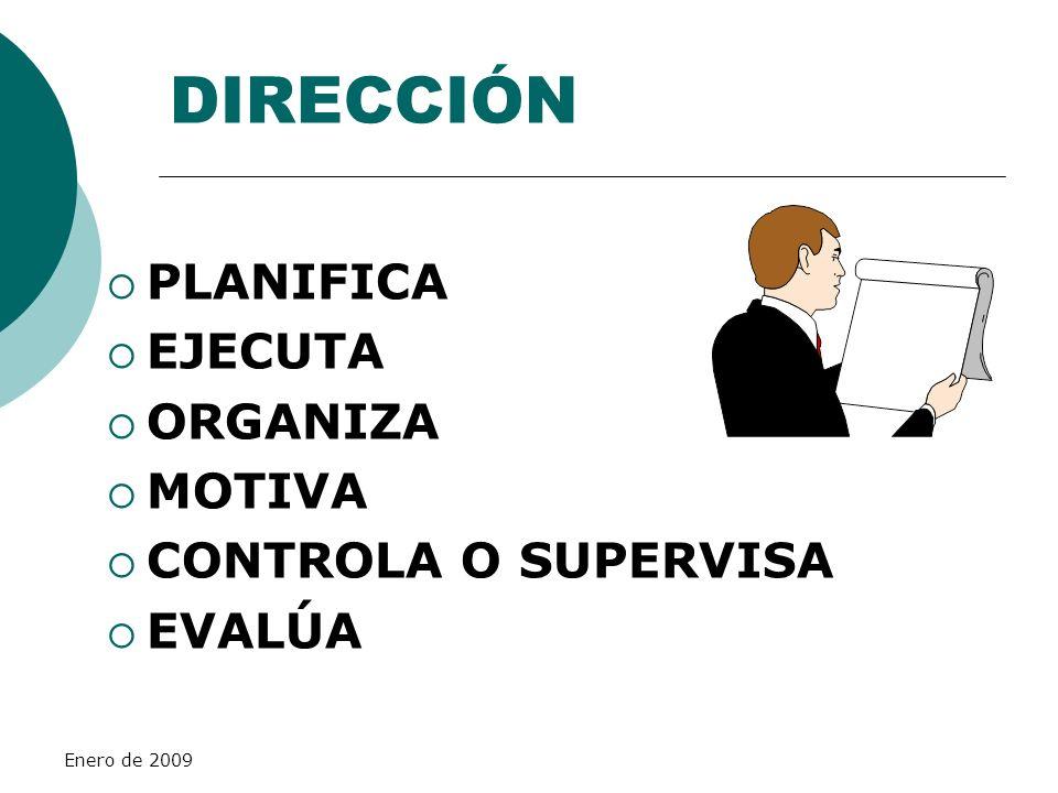 Enero de 2009 DIRECCIÓN PLANIFICA EJECUTA ORGANIZA MOTIVA CONTROLA O SUPERVISA EVALÚA