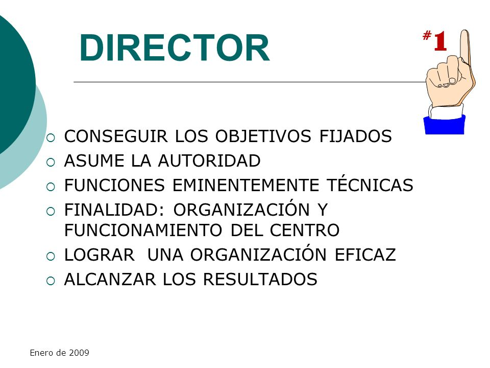 Enero de 2009 DIRECTOR CONSEGUIR LOS OBJETIVOS FIJADOS ASUME LA AUTORIDAD FUNCIONES EMINENTEMENTE TÉCNICAS FINALIDAD: ORGANIZACIÓN Y FUNCIONAMIENTO DE