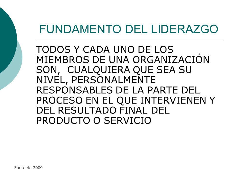 Enero de 2009 FUNDAMENTO DEL LIDERAZGO TODOS Y CADA UNO DE LOS MIEMBROS DE UNA ORGANIZACIÓN SON, CUALQUIERA QUE SEA SU NIVEL, PERSONALMENTE RESPONSABL