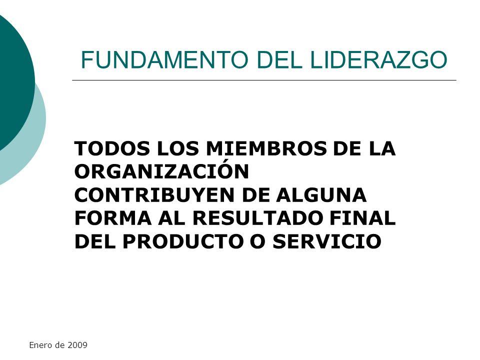 Enero de 2009 FUNDAMENTO DEL LIDERAZGO TODOS LOS MIEMBROS DE LA ORGANIZACIÓN CONTRIBUYEN DE ALGUNA FORMA AL RESULTADO FINAL DEL PRODUCTO O SERVICIO