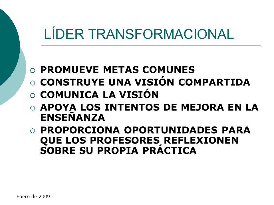 Enero de 2009 LÍDER TRANSFORMACIONAL PROMUEVE METAS COMUNES CONSTRUYE UNA VISIÓN COMPARTIDA COMUNICA LA VISIÓN APOYA LOS INTENTOS DE MEJORA EN LA ENSE
