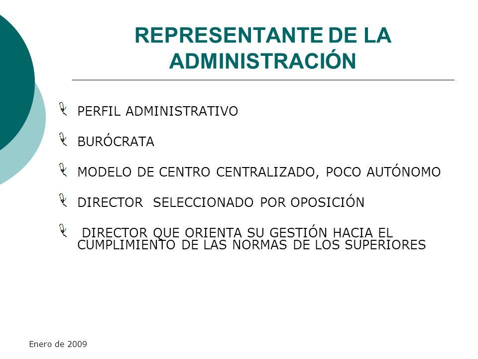 Enero de 2009 REPRESENTANTE DE LA ADMINISTRACIÓN PERFIL ADMINISTRATIVO BURÓCRATA MODELO DE CENTRO CENTRALIZADO, POCO AUTÓNOMO DIRECTOR SELECCIONADO PO