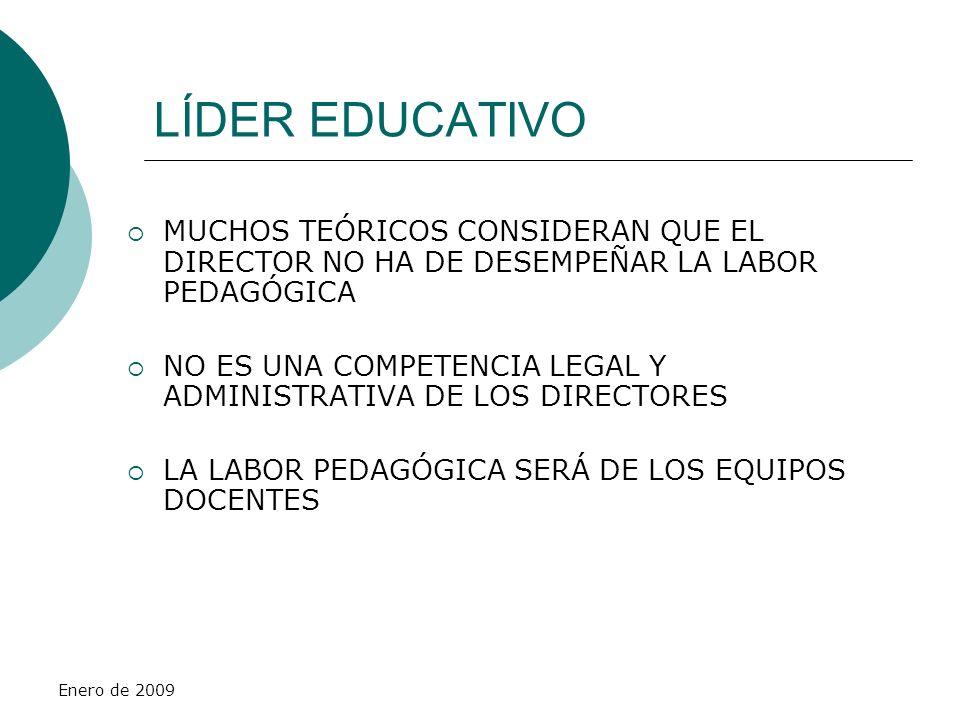 Enero de 2009 LÍDER EDUCATIVO MUCHOS TEÓRICOS CONSIDERAN QUE EL DIRECTOR NO HA DE DESEMPEÑAR LA LABOR PEDAGÓGICA NO ES UNA COMPETENCIA LEGAL Y ADMINIS