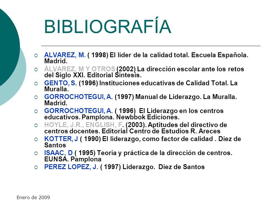 Enero de 2009 BIBLIOGRAFÍA ALVAREZ, M. ( 1998) El líder de la calidad total. Escuela Española. Madrid. ÁLVAREZ, M Y OTROS (2002) La dirección escolar