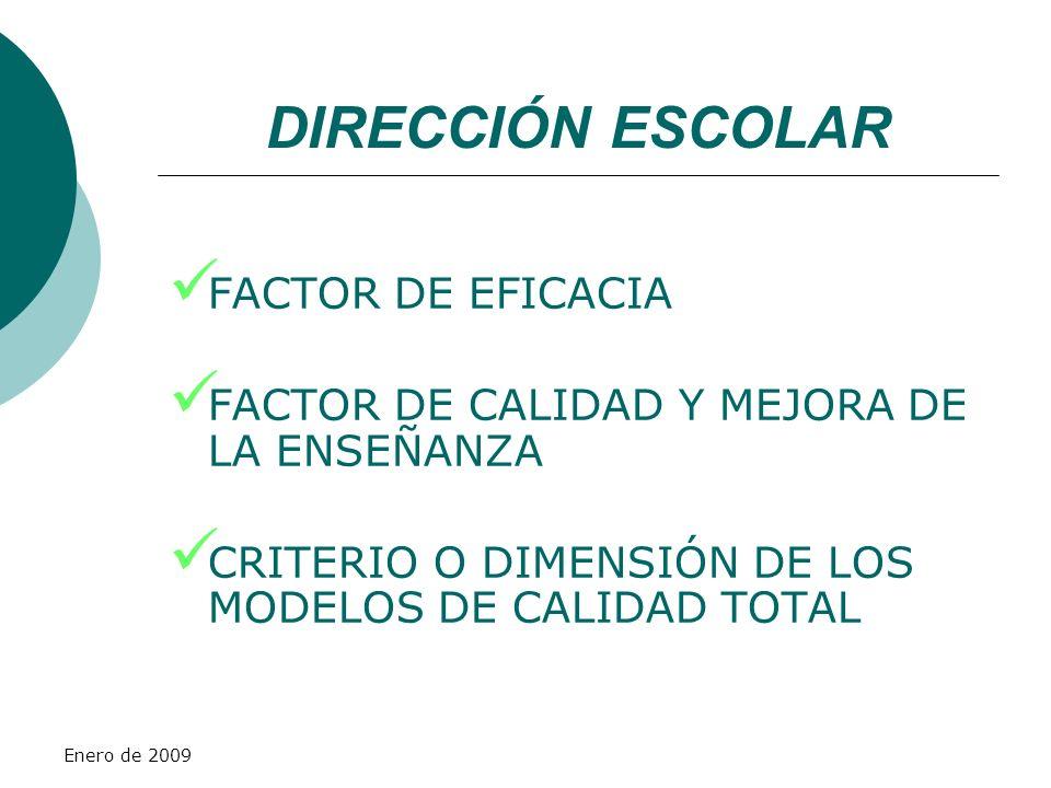 Enero de 2009 FACTOR DE EFICACIA FACTOR DE CALIDAD Y MEJORA DE LA ENSEÑANZA CRITERIO O DIMENSIÓN DE LOS MODELOS DE CALIDAD TOTAL DIRECCIÓN ESCOLAR