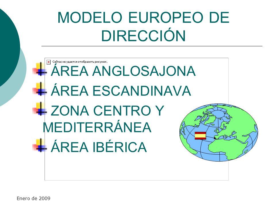 Enero de 2009 MODELO EUROPEO DE DIRECCIÓN ÁREA ANGLOSAJONA ÁREA ESCANDINAVA ZONA CENTRO Y MEDITERRÁNEA ÁREA IBÉRICA