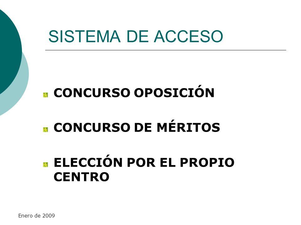 Enero de 2009 SISTEMA DE ACCESO CONCURSO OPOSICIÓN CONCURSO DE MÉRITOS ELECCIÓN POR EL PROPIO CENTRO