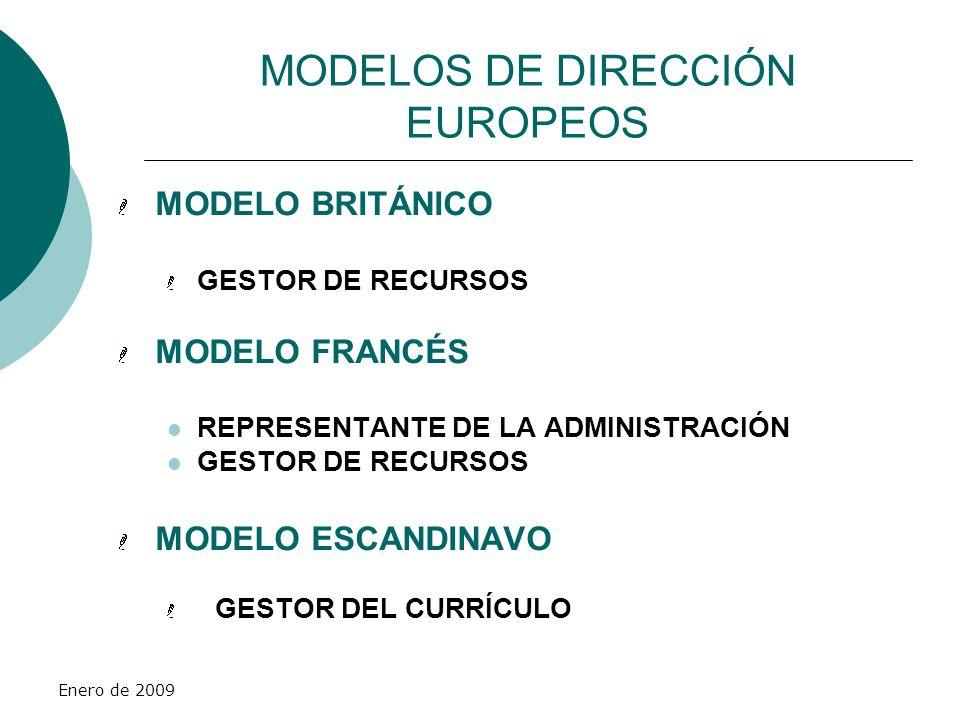 Enero de 2009 MODELOS DE DIRECCIÓN EUROPEOS MODELO BRITÁNICO GESTOR DE RECURSOS MODELO FRANCÉS REPRESENTANTE DE LA ADMINISTRACIÓN GESTOR DE RECURSOS M