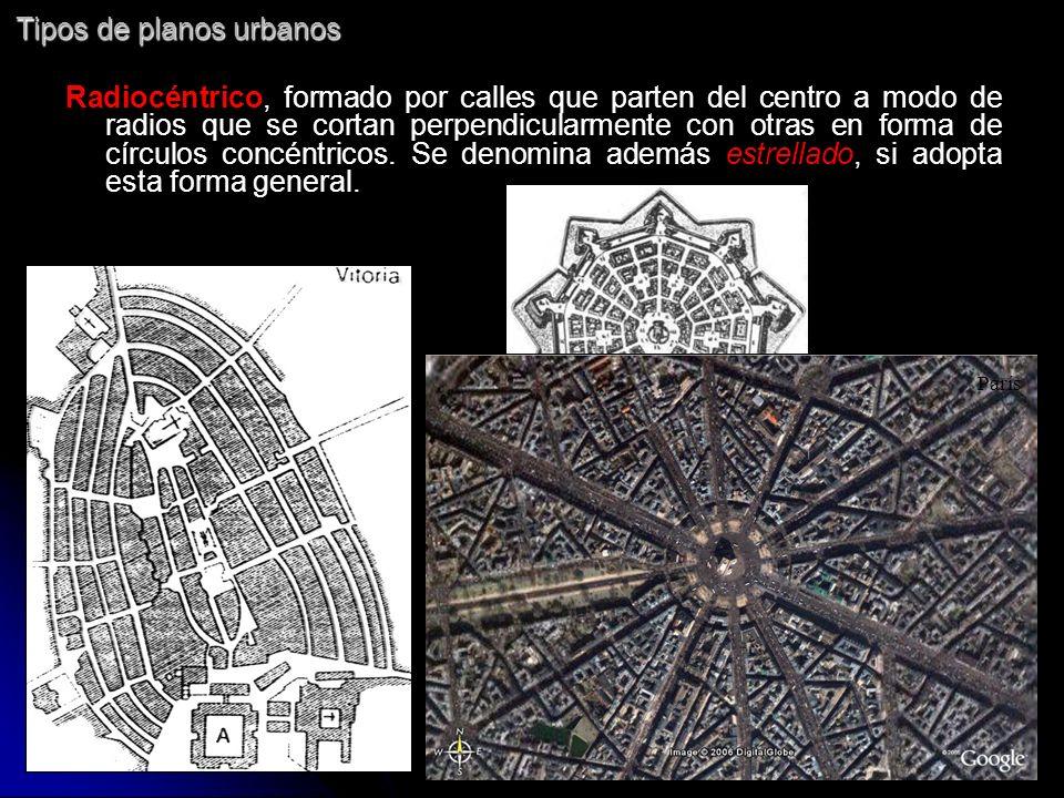 Tipos de planos urbanos Radiocéntrico, formado por calles que parten del centro a modo de radios que se cortan perpendicularmente con otras en forma d