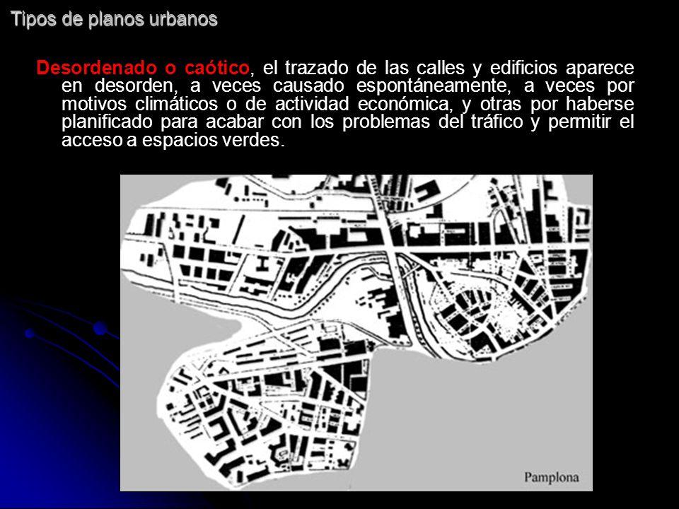 Tipos de planos urbanos Desordenado o caótico, el trazado de las calles y edificios aparece en desorden, a veces causado espontáneamente, a veces por