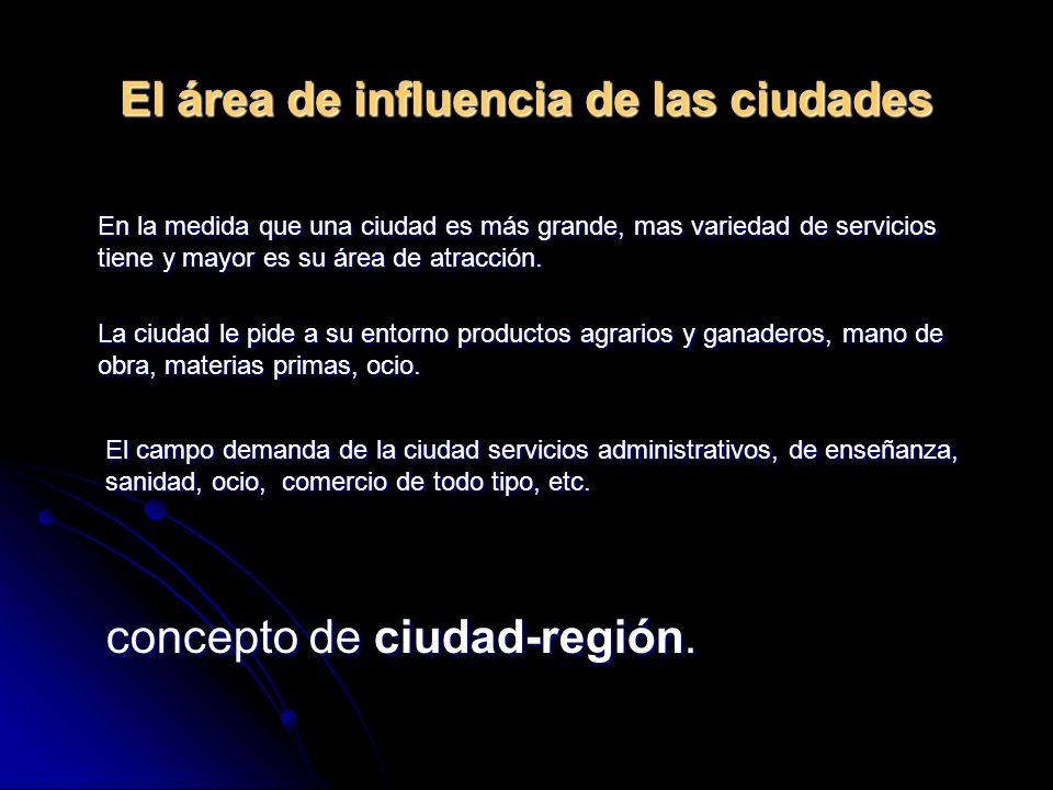 El área de influencia de las ciudades concepto de ciudad-región. En la medida que una ciudad es más grande, mas variedad de servicios tiene y mayor es