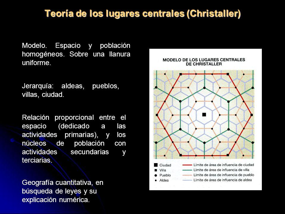 Teoría de los lugares centrales (Christaller) Modelo. Espacio y población homogéneos. Sobre una llanura uniforme. Jerarquía: aldeas, pueblos, villas,