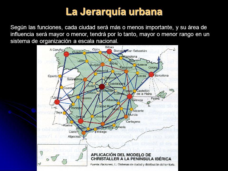La Jerarquía urbana Según las funciones, cada ciudad será más o menos importante, y su área de influencia será mayor o menor, tendrá por lo tanto, may