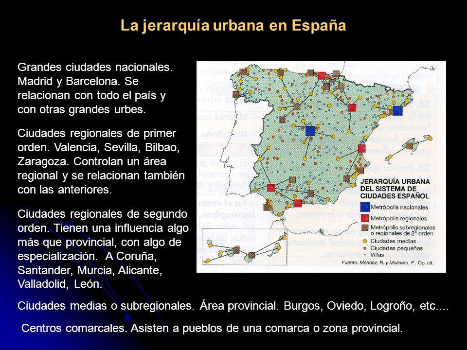 La jerarquía urbana en España Grandes ciudades nacionales. Madrid y Barcelona. Se relacionan con todo el país y con otras grandes urbes. Ciudades regi