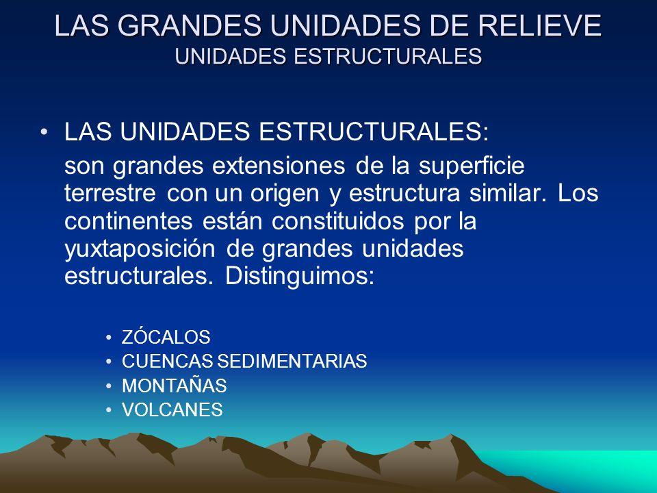LAS GRANDES UNIDADES DE RELIEVE UNIDADES ESTRUCTURALES LAS UNIDADES ESTRUCTURALES: son grandes extensiones de la superficie terrestre con un origen y